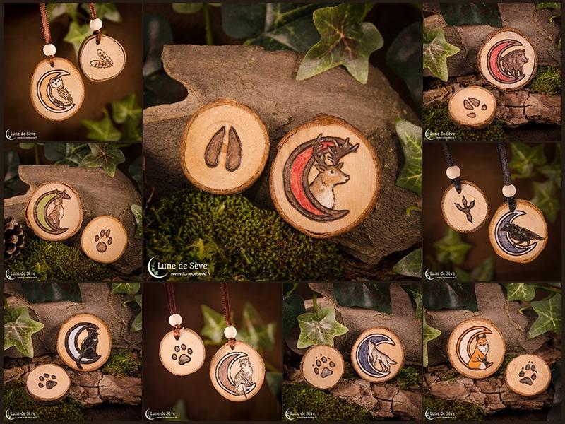 Plein de talismans Totem ! Cerf, corbeau, chat, chouette, lièvre, loup, renard, sanglier...