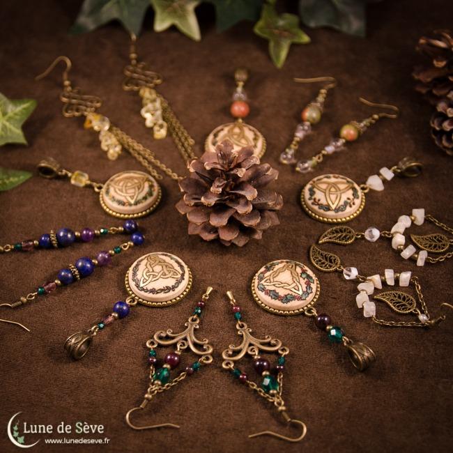 """Collection de bijoux """"Ogma"""", parures celtiques inspirées par l'ogham"""