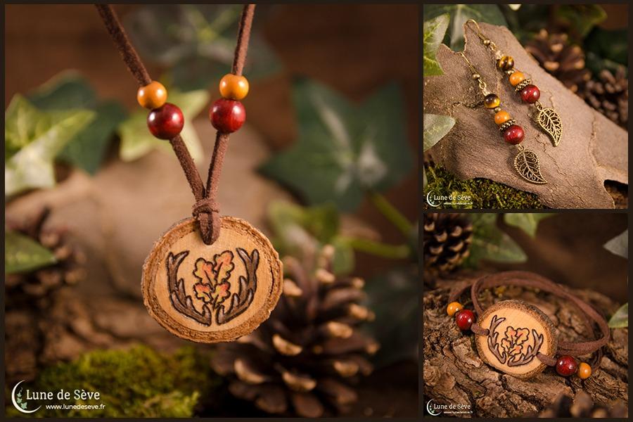 """Parure de bijoux """"Wildwood"""" - Bois de cerf et perles d'œil de tigre"""