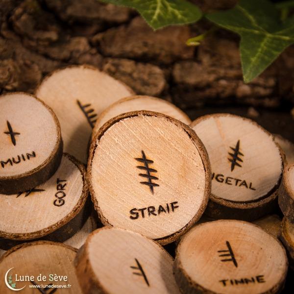 Jeu d'oghams d'apprentissage en bois