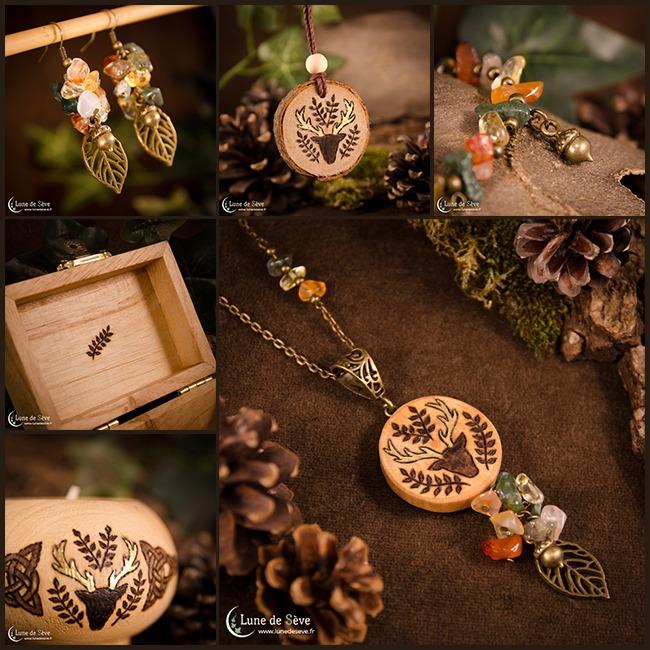 """Parure de bijoux, coffret, bougeoir et talisman en bois - """"Les Rameaux d'Or"""""""