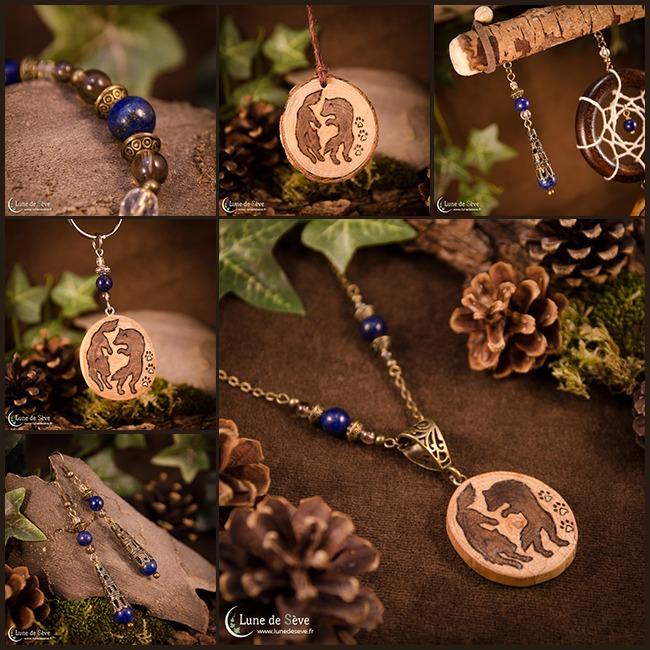 """Parure de bijoux, porte-clés, dreamcatcher et talisman en bois - """"Dieux Sauvages"""""""