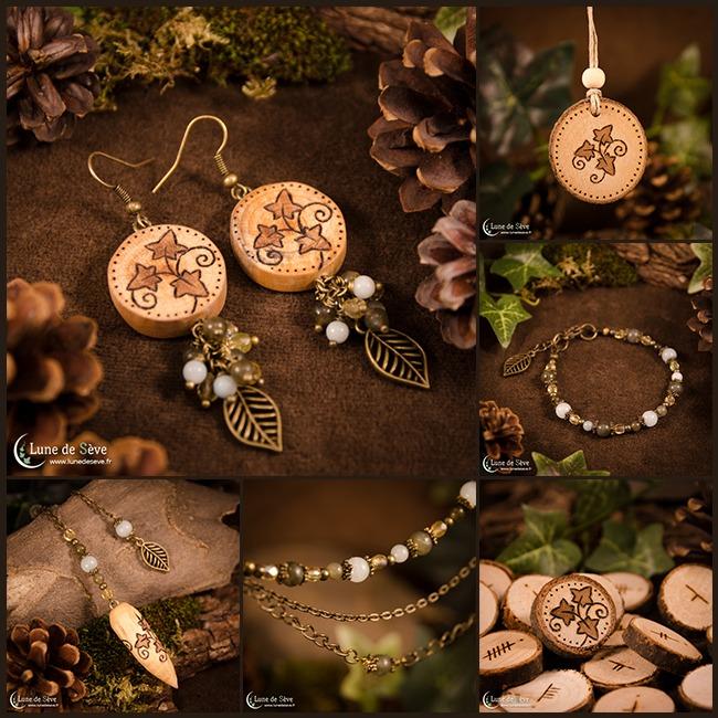 """Parue de bijoux, jeu d'oghams, pendule et talisman en bois - """"Semeur d'Etoiles"""""""