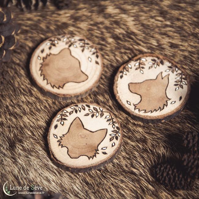 Petit Lenormand sur tranches de bois - Totems animaux