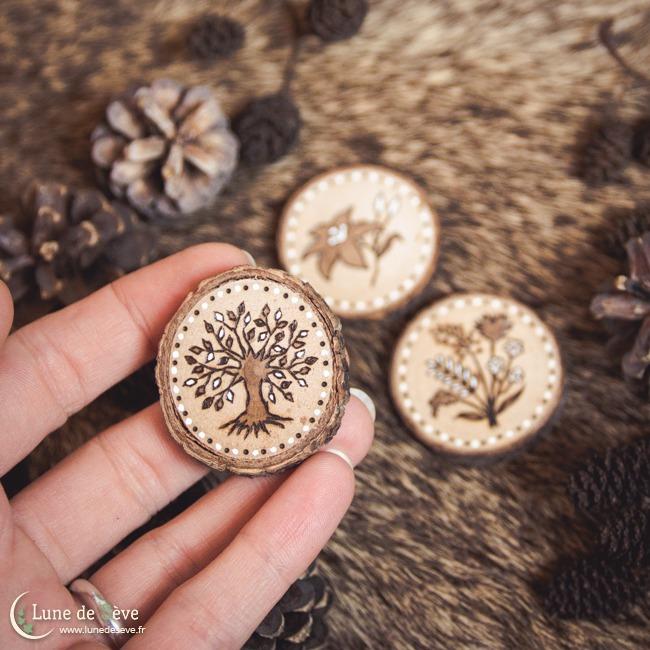 Petit Lenormand sur tranches de bois - Totems végétaux