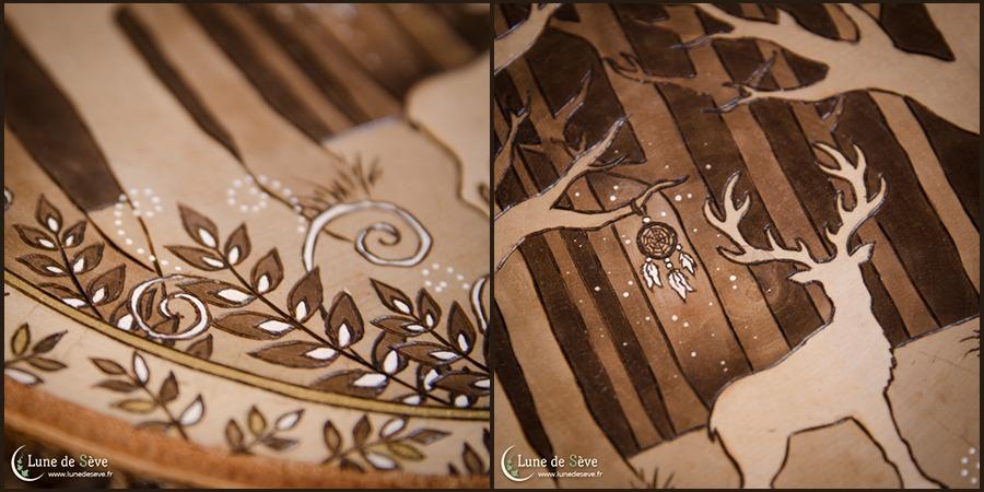 Esprit du Cerf - Pyrogravure artisanale (détails)