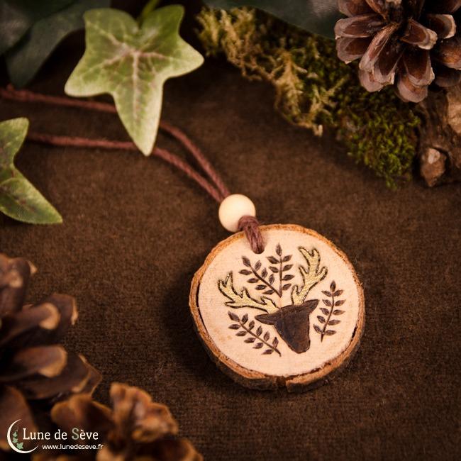 """""""Golden Antlers"""" - Handmade wooden talisman"""
