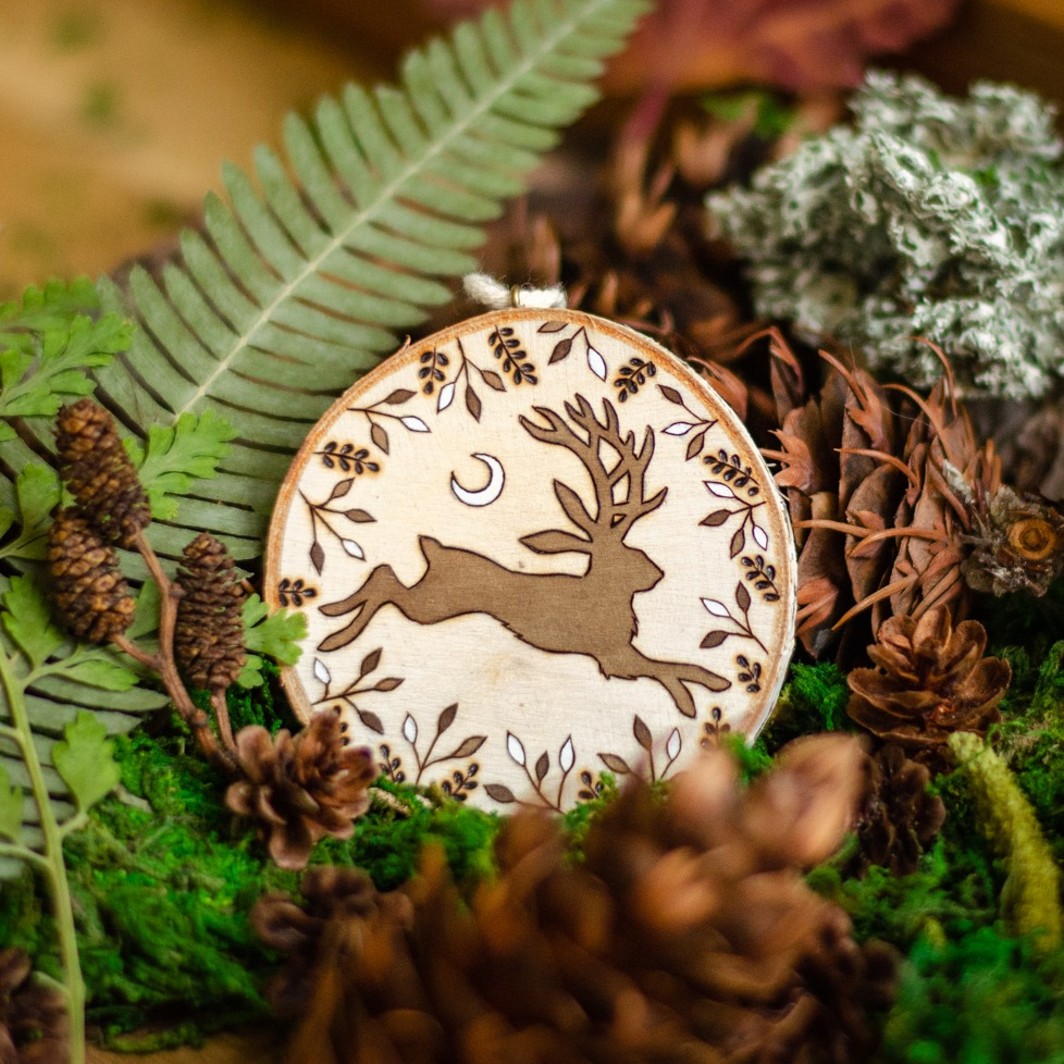 Jackalope Wooden Amulet