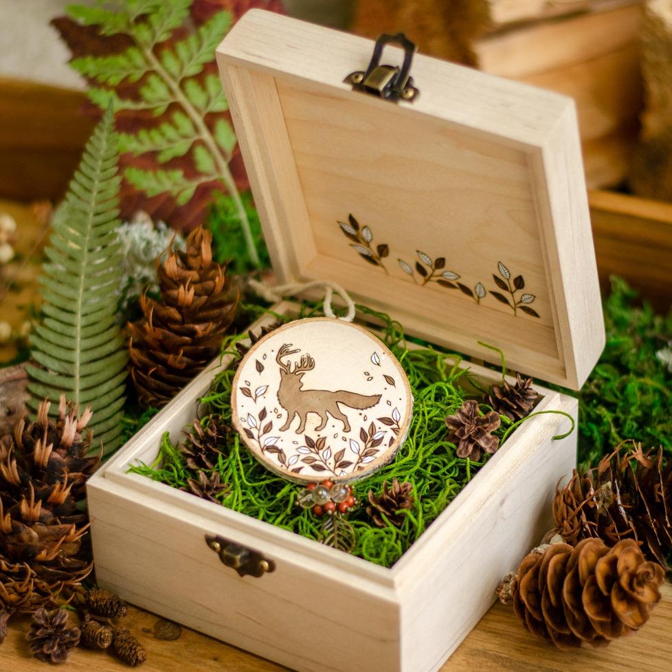 """Twig"" Deerfox Wooden Amulet"