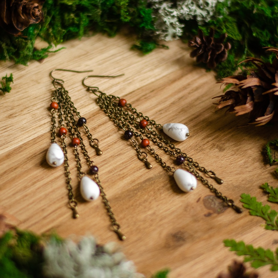 Garnet, red jasper & howlite earrings