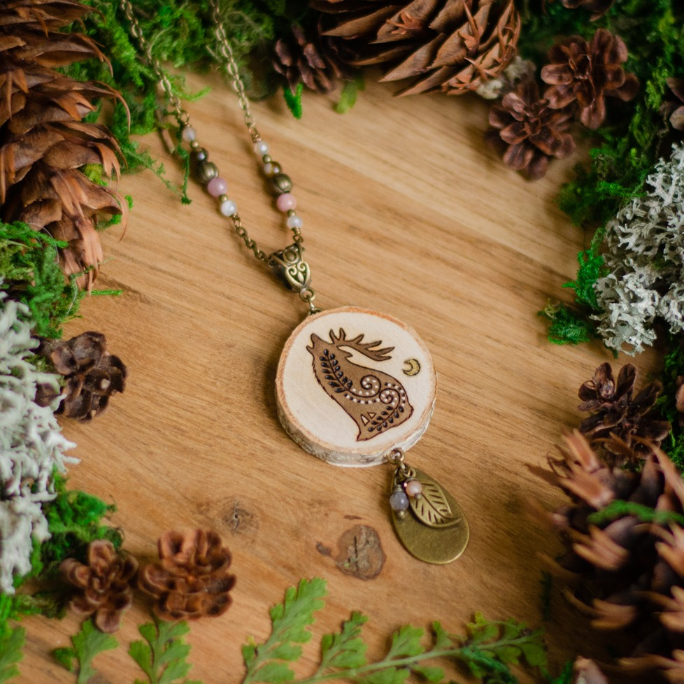 Horned Wolf Wooden Pendant