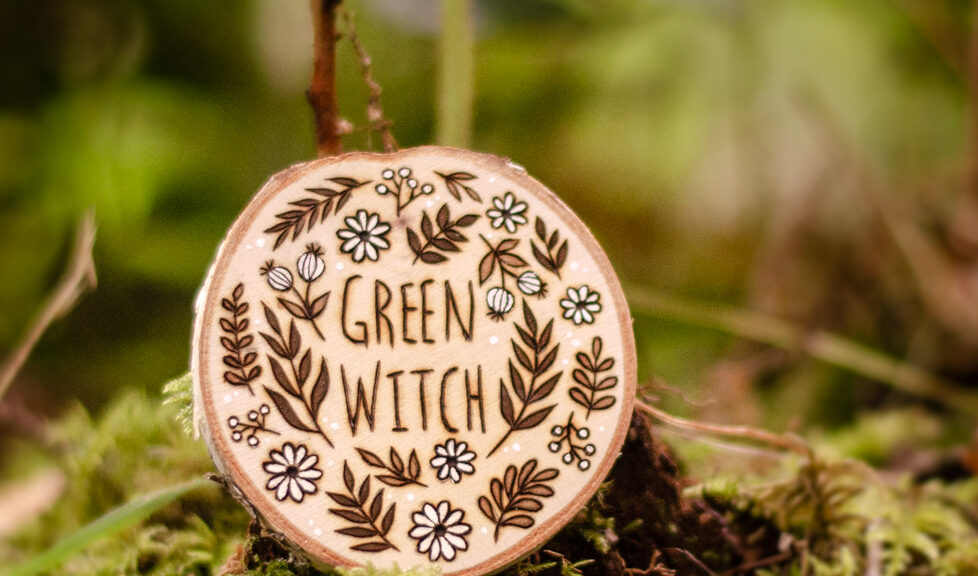 Green Witch - Wooden Amulet