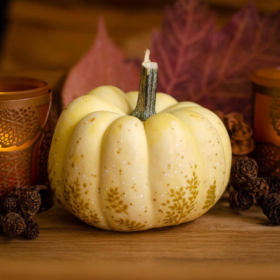 Golden Painted Pumpkin - Samhain Craft